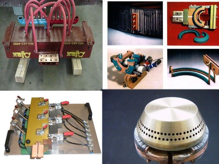 Inductor manufacturing, coil manufacturing, quenches, fixtures - Induction tooling for different tasks.